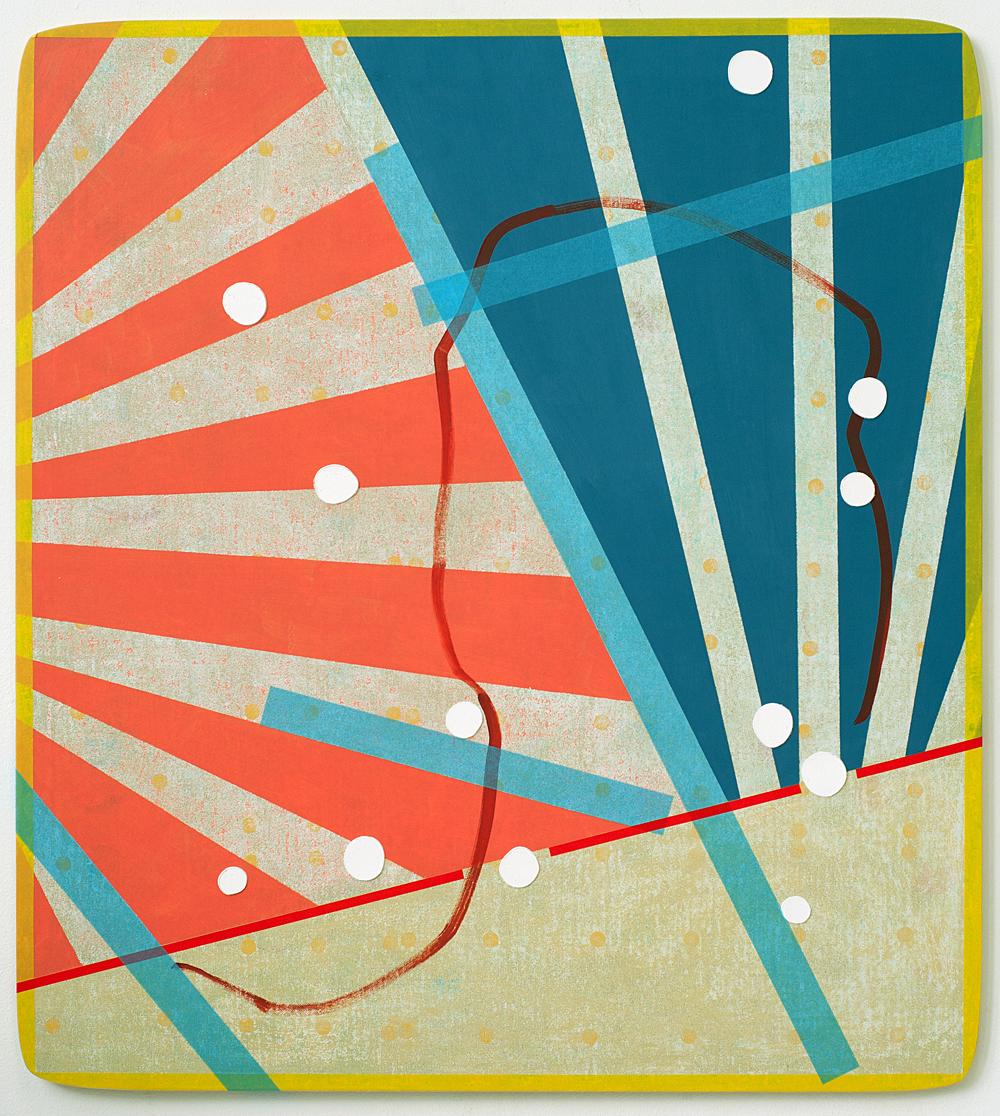 105 x 90 cm olieverf en tape op canvas op mdf