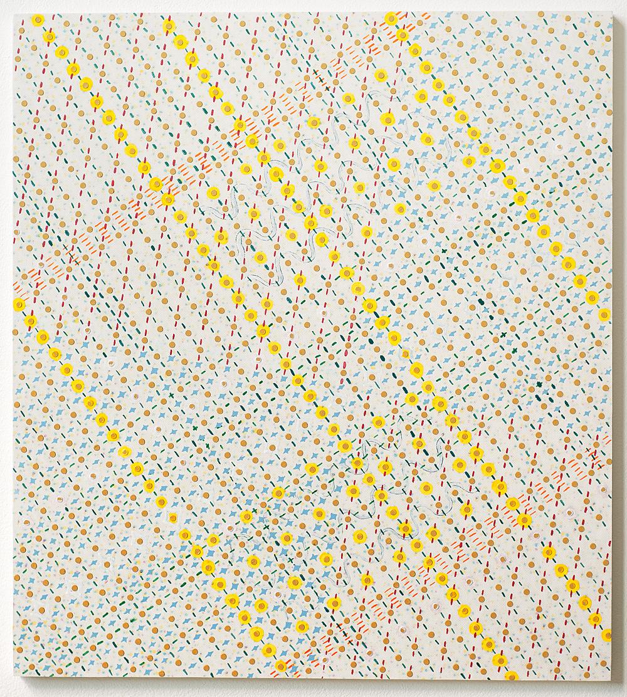 50 x 45 cm olieverf en inkjetprint op canvas op mdf