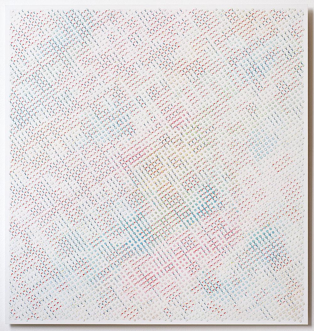 93 x 88 cm olieverf en inkjetprint op canvas op aluminium